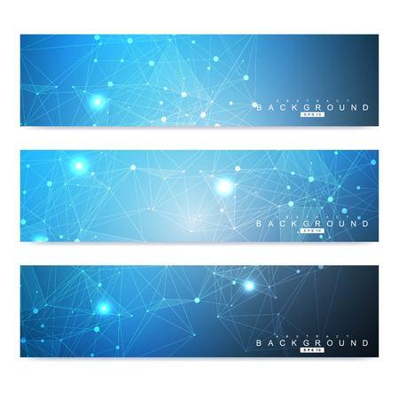 Wissenschaftlicher Satz moderner Vektorbanner. DNA-Molekülstruktur mit verbundenen Linien und Punkten. Wissenschaftliches und technologisches Konzept. Grafischer Hintergrund des Wellenflusses für Ihr Design. Vektorillustration Vektorgrafik