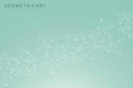 Geometric abstract background with connected line and dots. Structure molecule and communication. Scientific concept for your design. Medical, technology, science background. Vector illustration. Векторная Иллюстрация