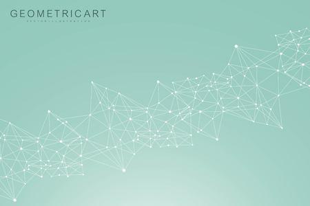 Geometrischer abstrakter Hintergrund mit verbundener Linie und Punkten. Strukturmolekül und Kommunikation. Wissenschaftliches Konzept für Ihr Design. Medizin, Technologie, wissenschaftlicher Hintergrund. Vektorillustration. Vektorgrafik