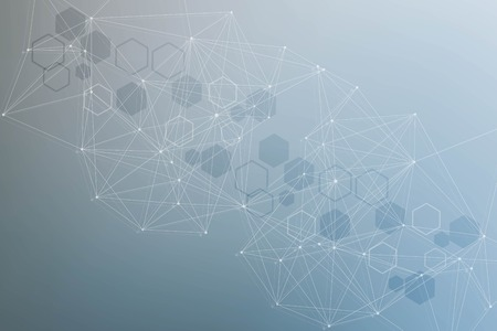 Science network pattern, connecting lines and dots. Technology hexagons structure or molecular connect elements.