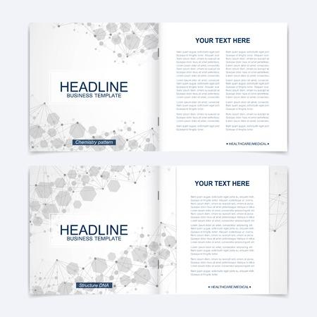 Scientific templates square brochure, magazine, leaflet , flyer, cover, booklet, annual report. Scientific concept for medical, technology, chemistry. Structure molecule and communication. Dna, atom. Vektoros illusztráció