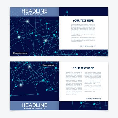 Scientific templates square brochure, magazine, leaflet , flyer, cover, booklet, annual report. Scientific concept for medical, technology, chemistry. Structure molecule and communication. Dna, atom. Vecteurs