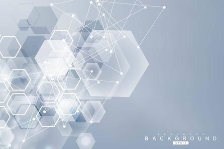 Modèle de réseau scientifique, lignes et points de connexion. Structure des hexagones de technologie ou éléments de connexion moléculaire.