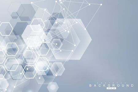 Modello di rete scientifica, collegamento di linee e punti. Tecnologia esagoni struttura o elementi di connessione molecolare.