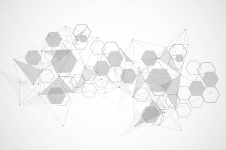 Science network pattern, connecting lines and dots. Technology hexagons structure or molecular connect elements. 일러스트