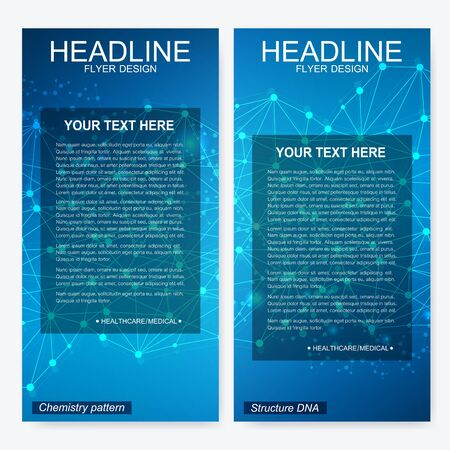 Leaflet flyer layout. Magazine cover corporate identity template. Science and technology design, structure DNA, chemistry, medical background, business and website templates. Vector illustration, Stockfoto - 129264679