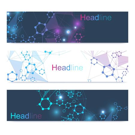 Scientific set of modern vector banners. DNA molecule structure with connected lines and dots. Scientific and technology concept. Wave flow graphic background for your design. Vector illustration. Stock Illustratie