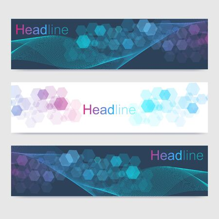 Scientific set of modern vector banners. DNA molecule structure with connected lines and dots. Scientific and technology concept. Wave flow graphic background for your design. Vector illustration Stok Fotoğraf - 133641413