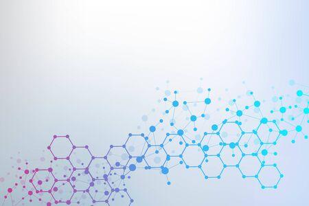 Modello di rete scientifica, collegamento di linee e punti. Tecnologia esagoni struttura o elementi di connessione molecolare. Vettoriali