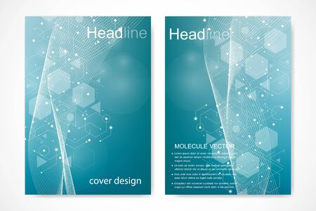 Vector templates for brochure magazine leaflet flyer cover booklet annual report. Modern futuristic hexagonal pattern with particle, molecule structure for medical, technology, chemistry, science