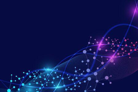 Molécule de structure et communication. ADN, atome, neurones. Concept scientifique pour votre conception. Lignes connectées avec des points. Médical, technologie, chimie, formation scientifique. Illustration vectorielle.