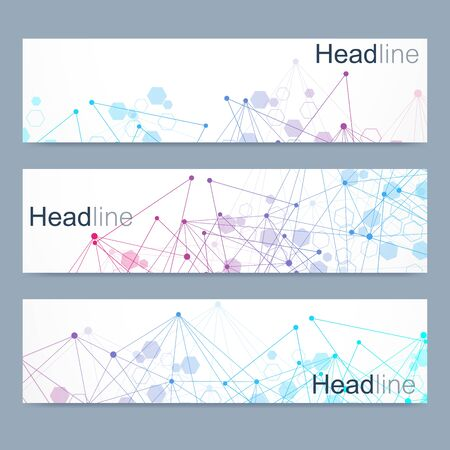 Scientific set of modern vector banners. DNA molecule structure with connected lines and dots. Scientific and technology concept. Wave flow graphic background for your design. Vector illustration. Illustration