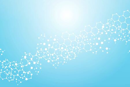 Structure molecule and communication. Dna, atom, neurons. Scientific concept for your design. Connected lines with dots. Medical, technology, chemistry, science background. Vector illustration. Ilustración de vector