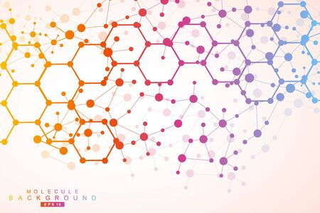 Modern futuristic background of the scientific hexagonal pattern. Virtual abstract background with particle, molecule structure for medical, technology, chemistry, science. Social network vector. Stock Vector - 141826829