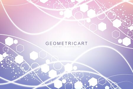 Modern futuristic background of the scientific hexagonal pattern. Virtual abstract background with particle, molecule structure for medical, technology, chemistry, science. Social network vector. Illustration