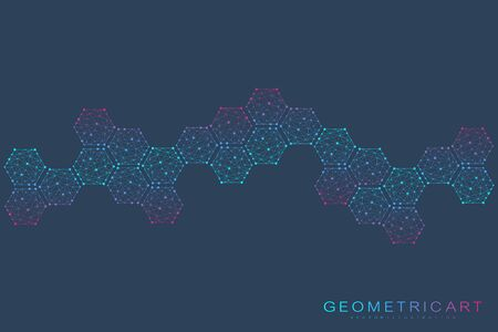 Hexagonal abstract background. Big Data Visualization. Global network connection. 일러스트