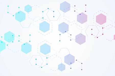 Hexagonal abstract background. Big Data Visualization. Global network connection Иллюстрация