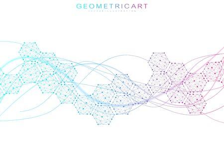 Sechseckiger abstrakter Hintergrund. Big-Data-Visualisierung. Globale Netzwerkverbindung. Medizin, Technologie, Wissenschaftshintergrund. Vektor-Illustration.