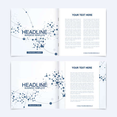 Scientific templates square brochure, magazine, leaflet , flyer, cover, booklet, annual report. Scientific concept for medical, technology, chemistry Structure molecule and communication Dna atom Stock Illustratie