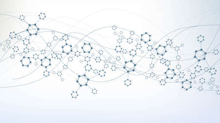 Science network pattern, connecting lines and dots. Technology hexagons structure or molecular connect elements. Векторная Иллюстрация