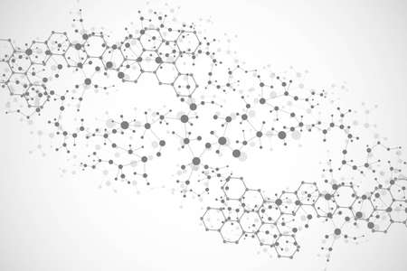 Structure molecule and communication. Dna, atom, neurons. Scientific concept for your design. Connected lines with dots. Medical, technology, chemistry, science background.