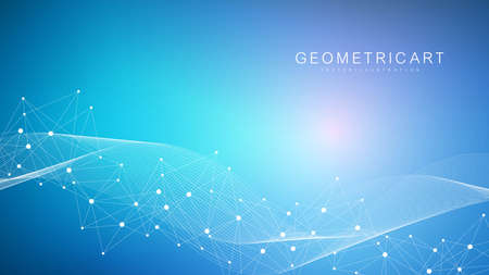 Geometric abstract background with connected line and dots. Structure molecule and communication. Big Data Visualization. Medical, technology, science background. Vector illustration. Vecteurs