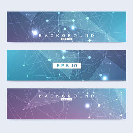 Scientific set of modern vector banners. DNA molecule structure with connected lines and dots. Scientific and technology concept. Wave flow graphic background for your design.