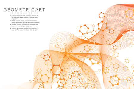 Science network pattern, connecting lines and dots. Technology hexagons structure or molecular connect elements. Иллюстрация