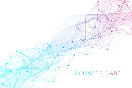 Geometric abstract background with connected line and dots. Structure molecule and communication. Big Data Visualization. Medical, technology, science background. Vector illustration.