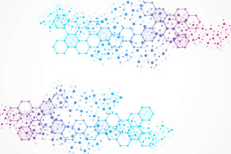 Science network pattern, connecting lines and dots. Technology hexagons structure or molecular connect elements
