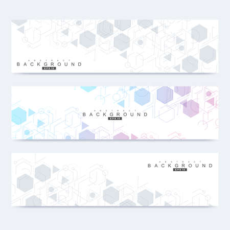 Scientific set of modern vector banners. DNA molecule structure with connected lines and dots. Scientific and technology concept. Wave flow graphic background for your design. Vector illustration. 向量圖像