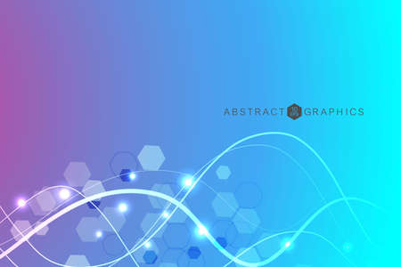 Hexagonal abstract background. Big Data Visualization. Global network connection. Medical, technology, science background. Vector illustration.