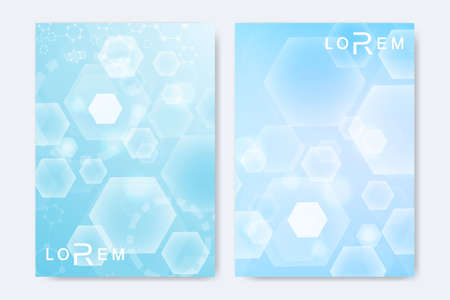 Minimal brochure templates, magazine, leaflet, flyer, cover, booklet, annual report, banner. Scientific concept for medical, technology, chemistry. Hexagonal molecule structure. Dna, atom, neurons.