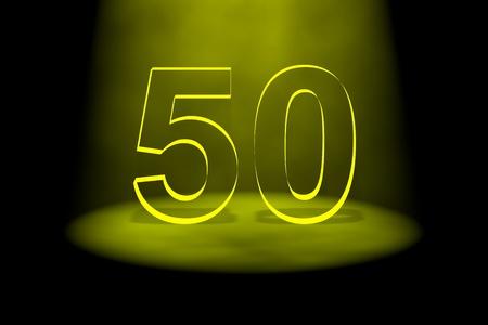 number 50: N�mero 50 ilumina con luz amarilla sobre fondo negro