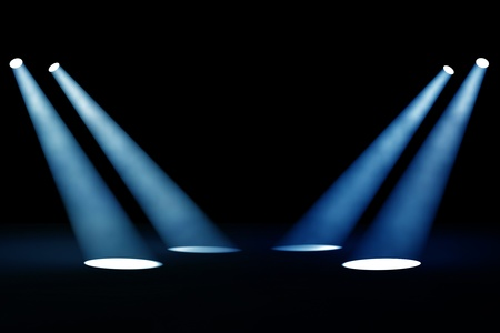 empty stage: Abstract dark background with bright blue stage spotlights Stock Photo