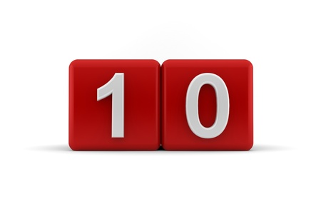 Two red cubes with the number 10 to celebrate a tenth birthday photo