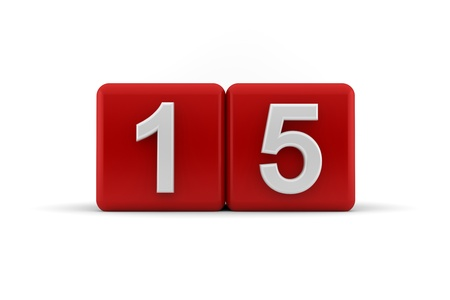 Two red cubes with the number 15 in white embossed and bevelled digits to celebrate a fifteenth birthday, 3d render on white photo