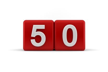 number 50: Dos cubos de color rojo con el n�mero 50 en blanco d�gitos en relieve y biselado para celebrar un cumplea�os cincuenta, 3d sobre fondo blanco