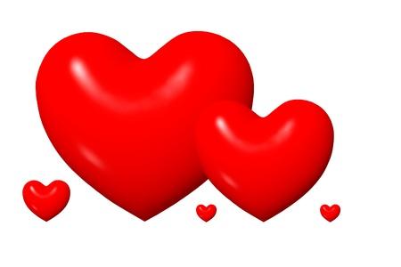 Shiny red cartoon 3D hearts isolated on white background Stock Photo - 13429737