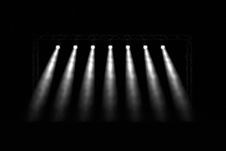 searchlights: Abstract dark background with bright stage spotlights Stock Photo
