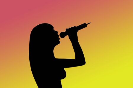 singing silhouette: Silhouette in profile of a woman singing with her head tilted back holding a microphone