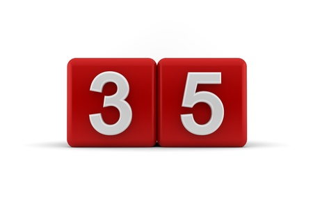 Two red cubes with the number 35 in white embossed and bevelled digits to celebrate a thirty-fifth birthday, 3d render on white photo