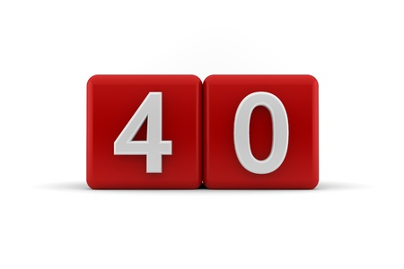 age forty: Two red cubes with the number 40 in white embossed and bevelled digits to celebrate a fourtieth birthday, 3d render on white Stock Photo