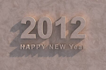 3d render 2012 Happy New Year in marble with shadow as though on the facade of a building photo