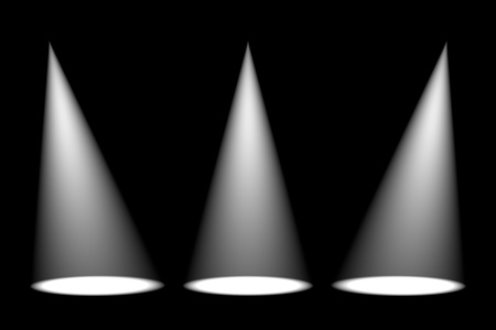 Abstract dark background with bright colorful stage spotlights photo