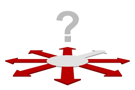 Question mark over multidirectional red arrows with one individual grey arrow, conceptual of a solution or answer Stock Photo - 13442328