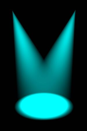 Abstract dark background with bright cyan stage spotlights photo