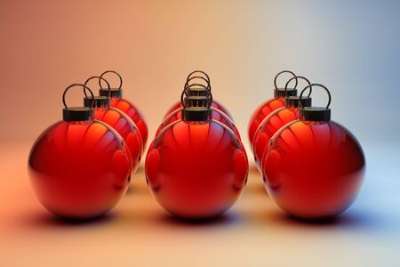 Nine shiny red Christmas baubles in even rows photo