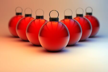 Shiny red Christmas baubles background - holiday season ornaments Stock Photo - 13440897