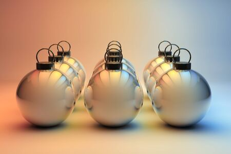 Shiny Christmas baubles in even rows - Christmas ornaments background photo